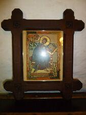 Antique Victorian Gothique sculpté en bois foncé chassis + mediavel Saint imprimer-avec