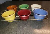 Vintage Set, Lot of 6 Brush Pottery 1935 Yellowware  Custard Cups w/ Wire Rack