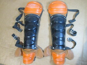 Vtg Wilson A3443 Made in USA Baseball Catchers Shin Guards, Partly Leather, MLB?