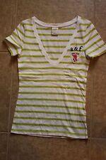 Abercrombie Girls Lime Green & White Striped V-Neck Size- L