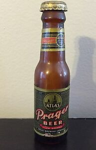 "Vintage PRAGER Beer Atlas Brewing Co. Miniature 4"" Beer Bottle"