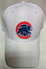 Chicago Cubs Heat Applied Applique Logo on White cap hat!Adjustable! Walking Cub