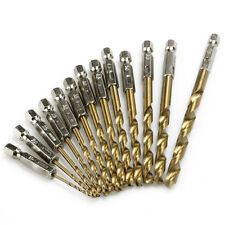 13pcs High Speed Steel Titanium Coated Drill Bit Set Hex Shank 1.5-6.5mm Wood T1