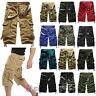 Mens Cotton Cargo Shorts Combat 3/4 Length Pants Elastic Waist with Pocket Pants