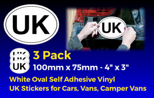 UK decals x3 - Oval Self Adhesive Vinyl sticker, Campervans - Car - Van FREEPOST
