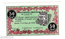 Espagne SPAIN ESPANA CONSEJO MUNICIPAL GUADIX Billet 50 CTS 1938 NEUF UNC