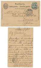 SWITZERLAND 1908 POSTCARD c. 5 TO TURIN ITALY