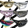 Metallic Faux Leather Fanny Pack Shiny Waist Belt Bag Silver Gold Pink Black