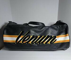 Venum Black Leather White Orange Yellow  Striped Boxing Gym Zip Duffle Bag READ