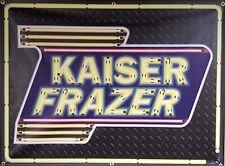 KAISER FRAZER DEALER MARQUEE NEON EFFECT PRINTED BANNER SIGN GARAGE ART 4' X 3'