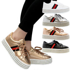 Ladies Women Diamante Platform Lace Up Flat Sneakers Running Trainers Shoes Size