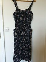 Topshop Floral Linen Blend Midi Split Dress Size 14