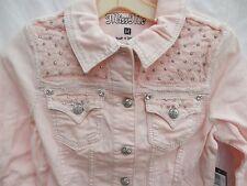 Buckle Miss Me Jean Jacket Stretch Bubble Gum Pink Rhinestone Size Medium  NEW