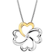 1/10 ct Diamond Clover Pendant in Sterling Silver & 14K Gold