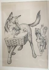 Original Dog Illustration Drawing Will Rapp Listed, German Shepard, Bulldog,