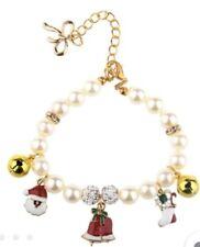 Holiday Pearl Dog Charm Collar Christmas Bells Santa Stocking Pig Cat Duck Small