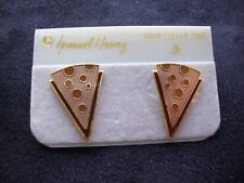 VINTAGE SAMUEL HUANG CLOISONNE EARRINGS RETRO ABSTRACT COPPER BRONZE & BROWN