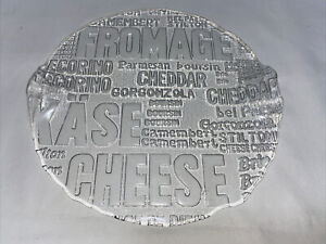 Large Cheese glass platter serving plate 28cm Wide With Raised Glass Handels