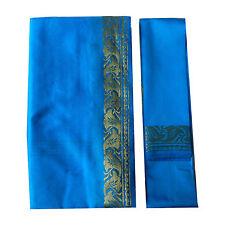 Sari azul turquesa claro brocado dorado bindi instrucciones India poliéster