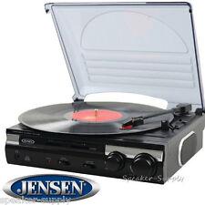 Jensen 3-Speed Stereo Turntable MP3 Encoding Belt Driven USB 33 45 78 DJ JTA-230