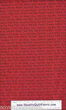 Animal Alphabet Name Red Games Checker Cotton Novelty Quilt Quilting Fabric BTY