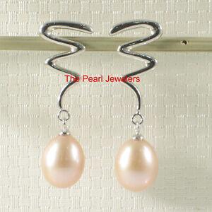 14k White Solid Gold Unique Design F/W Cultured Pearl Dangle Stud Earrings TPJ