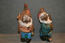 """Garden Gnome Lot of 2 Axe & Ukulele 12"""" West Germany"""