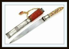 "ANTIQUE ASIAN BURMESE ""DHA"" DAGGER OF HIGH QUALITY IN SILVER MOUNTS (sword)"