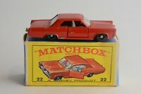Matchbox Lesney No 22 Pontiac Coupe - Made In England - Boxed -(B16)