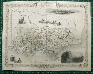 1851 Antique Map; Victoria & Port Phillip, Australia - John Tallis / Rapkin