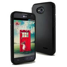 Black Impact Shockproof Slim Combo Box Case Cover For LG Optimus L70 D320 MS323