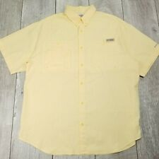 Columbia PFG Button Vented Shirt Mens Large Yellow Polyester Short Sleeve SB112
