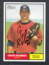 Craig Stammen Autographed 2010 Topps Heritage Baseball Card #174 Nationals