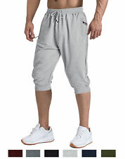 Men's Cotton Gym Tapered Shorts Sports Running Shorts Sweatpants 3/4 Pants