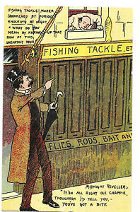 Artist Drawn Comic Card - Fishing Tackle Shop