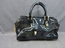 Auth LOEWE Amazona Black Vinyl &  Leather Handbag