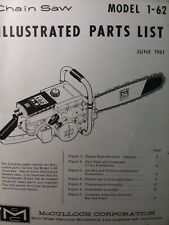 Mcculloch Chain Saw 1 62 Parts Catalog Manual 2 Cycle Gasoline Chainsaw 1961