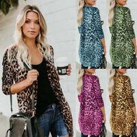 Women Sexy Autumn Leopard Print Cardigan Coat Tops Ladies Knitted Sweater Jumper