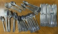 JH Carlyle Stainless CAMEO Knives Spoons Teaspoons Forks Hong Kong Lot of 65
