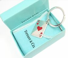 Vintage Tiffany & Co Sterling Silver Red Enamel Ace of Hearts Key Ring Keychain