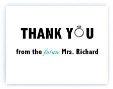 30 Personalized Custom Engagement Ring Bridal Shower Wedding Thank You Cards