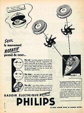 PUBLICITE ADVERTISING 035  1956  PHILIPS   rasoir ROTATIF
