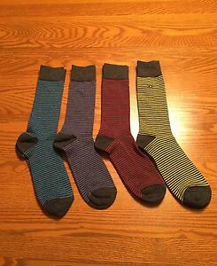 Calvin Klein Mens Crew Dress Socks Fun Hot Multi-Color Striped L (7-12)