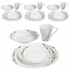 16PC Complete Dinner Set Plates Bowls Cups Crockery Tableware Family Dining Sets