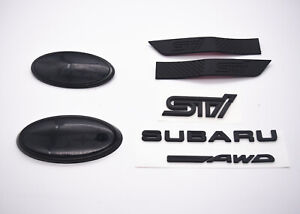 SUBARU WRX MATTE BLACK BUNDLE REAR BADGE + BLACK FENDER BADGE - 2015+ WRX / STI