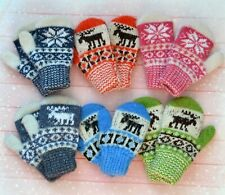 NEW Baby winter mittens homemade knitted 100% sheep wool craft warm