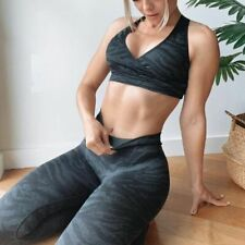 New listing Women Seamless Leggings Top Set Fitness Yoga Scrunch Butt Gym Sport Tights Leg M