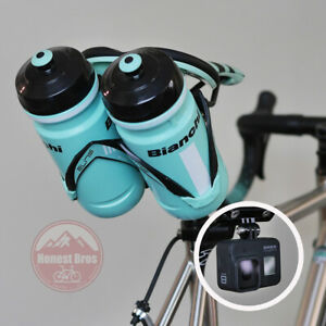 Double Seat Saddle Mount Holds 2 Water Bottles Behind Seat Rear Cage Holder Bike