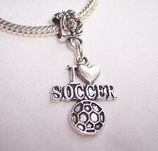 I Love Soccer Heart Ball Sports Dangle Bead for Silver European Charm Bracelet