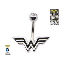 Belly Button Ring 14g 3/8 Navel Clear CZ and Wonder Woman Fixed Logo Charm